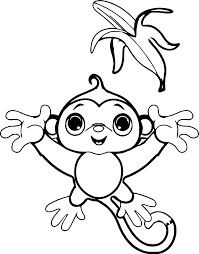 happy kid monkey catch banana coloring page wecoloringpage