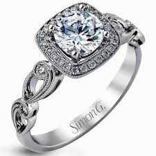 gold vintage engagement rings simon g cushion halo vintage style floral engagement ring