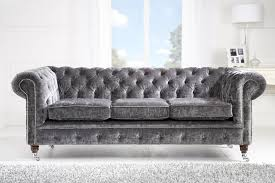 crushed velvet silver 3st chesterfield sofa hand made