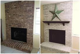 whitewash brick fireplace before and after more