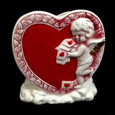 www marymaxim catalog25th anniversary plate vintage lefton heart cupid valentines day ceramic planter