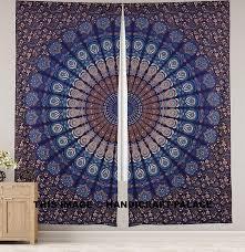 Ethnic Indian Home Decor Amazon Com Peacock Mandala Window Curtains Indian Drape Balcony