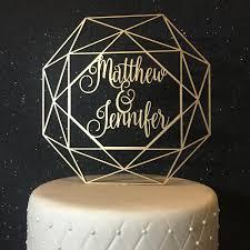 personalized name cake topper wedding cake topper geometric cake