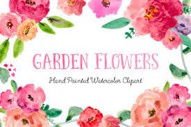 garden flowers hand painted watercolor clipart clip art