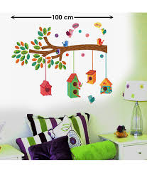 stickerskart nursery colourful bird house on a branch wall decor