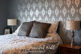 Damask Stencil Feature Wall Stunner  Stencil Stories - Feature wall bedroom ideas
