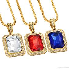 color stone necklace images 2018 mens bling gem iced out pendant hip hop rappers micro octagon jpg