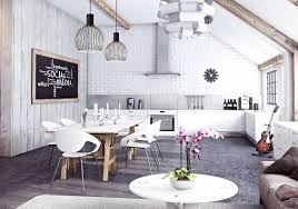 interior cool industrial interior design with white brick wall
