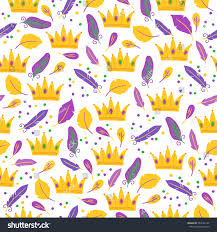 mardi gras crowns mardi gras seamless pattern crowns feathers stock vector 364132127