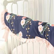 Navy And Coral Crib Bedding Berkeley S Navy Blush Floral Bumperless Crib Bedding Caden