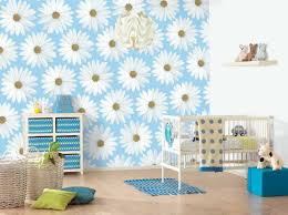 Baby Blue Cushions Flowery Room Wall Designs With Cute Chest Of Drawer Near Cane Work