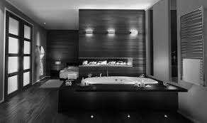 modern contemporary black and white bathroom decor stone flooring