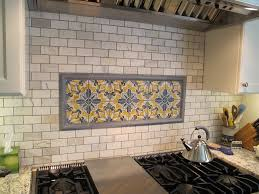 kitchen ideas blue glass tiles backsplash with circle pattern