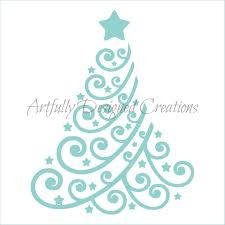 swirly christmas tree stencil 2 artfully designed creations
