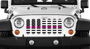 white and pink jeep jeep wrangler usa pink stripe insert dirty acres
