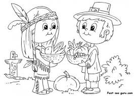 printable thanksgiving and pilgrim coloring page printable