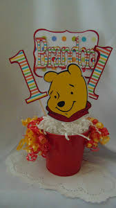 winnie the pooh birthday centerpiece with name and age disney 1st