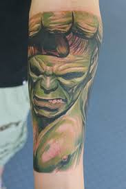 hulk tattoo part of a marvel sleeve in progress by graynd on