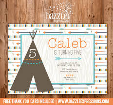 printable boy teepee and arrows birthday invitation tribal