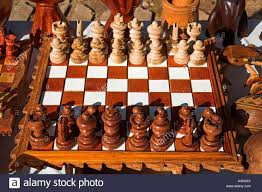 chessboard and chess set for sale in the craft market