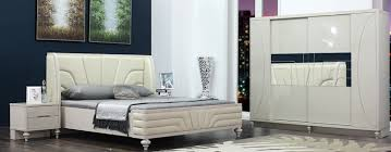 modern european king size bed set with wooden bed frame view