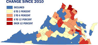 Map Of Counties In Virginia by Virginia U0027s Population Growth Slow But Still Ahead Of National