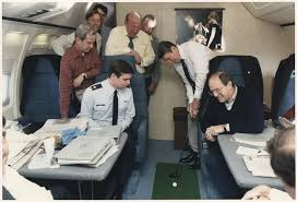 Air Force One Interior File Photograph Of President Reagan Putting A Golf Ball Around Air