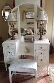 shabby chic antique chippy white vintage vanity with tri fold