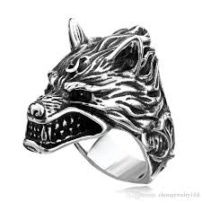 man cool rings images 2018 stainless steel wolf head ring for man cool punk man 39 s jpg