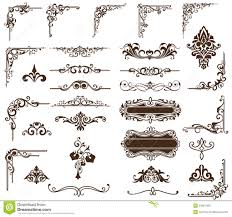 vector set vintage ornaments corners borders illustration
