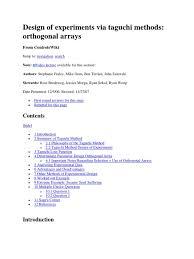 design of experiments design of experiments via taguchi methods orthogonal arrays