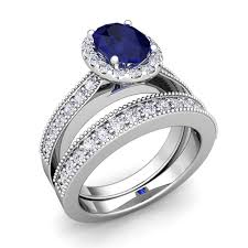 rings bridal milgrain diamond sapphire engagement ring bridal set 18k gold 7x5mm