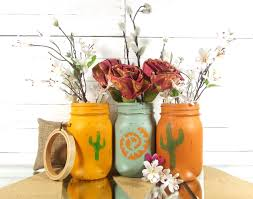 Navajo Home Decor by Southwestern Decor Painted Mason Jars Cactus Home Decor
