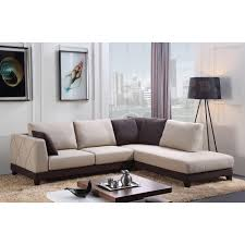 Suede Sectional Sofas Khaki Suede Sectional Sofa With Shelter Armrest And Brown Stained