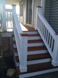 exterior casual front porch decoration with dark brown wood