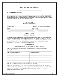 Template Wills by Bill Of Sale Form Last Will And Testament Form Templates