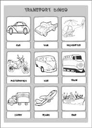 transport vocabulary for kids learning english matching game