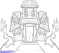 Drawing Of Halloween Easy Drawing Of A House How To Draw A Haunted House For Kids Step