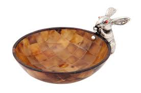 brown shell bowl with silver rabbit home decoration products