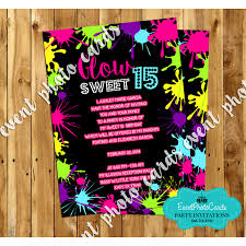 glow sweet 15 invites quinceanera birthday invitations custom
