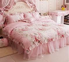 Pink Rose Duvet Cover Set Amazon Com Fadfay Home Textile Pink Rose Floral Print Duvet Cover