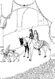 elves pulling horses carrying prince princess castle