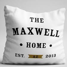 home throw pillow personalize with name state and established