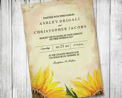 Sunflower Wedding Invitations Printable Sunflower Wedding Invitation Vintage Rustic Country