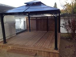Garden Treasures 10 X 10 Aluminum Gazebo by Beautiful Deck With Privacy Fence And Aluminum Gazebo Our Work