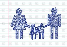 pictograms of family on sheet paper background sketch style