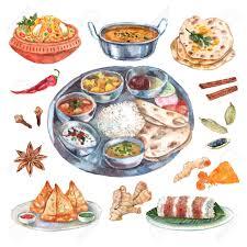 illustration cuisine traditional indian cuisine restaurant food ingredients pictograms