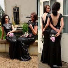 2018 sparkly black sequin popular custom made cheap bridesmaid