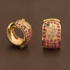 earrings brands ahalya emerald ruby diamond hoop earring a1107 brands