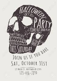 vector halloween vector halloween party invitation with hand drawn skull royalty